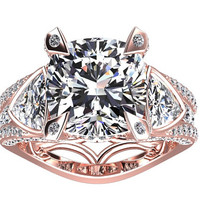 Moissanite And Diamond Engagement Ring Fashion Ring 14K Rose Gold Wedding Ring Diamond Cushion Cut 3.00CT Moissanite W31MOIS14R