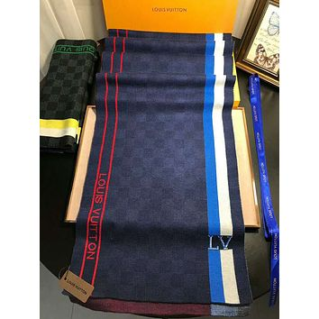 LV autumn and winter new men's wild fashion long knit shawl scarf #1