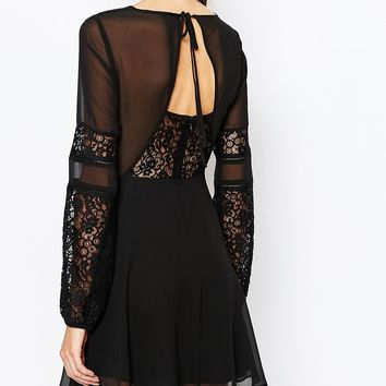 BCBGeneration Dress With Lace Sleeves in Black