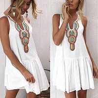 Women V Neck Sleeveless Mini Dress Vintage Printed Ruffled Dress Casual Beach Sundress