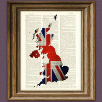 United Kingdom UNION JACK flag silhouette map by collageOrama