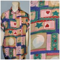 Vintage Oversize Patterned Silk Blouse Short Sleeve Button Down Shirt 1990's The Limited Moon, Stars, Hearts Print Size Small Baggy Top