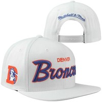 Mitchell & Ness Denver Broncos Throwback All-White Adjustable Snapback Hat - White