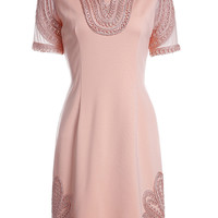 Pink V-Neck Short Sleeve Embroidered Dress