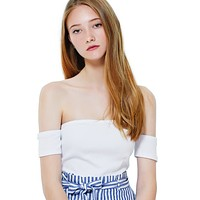 Stretchy Short Sleeve Off Shoulder Ribbed Crop Top (CLEARANCE)