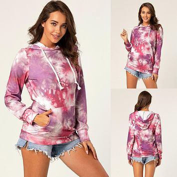2020 new products women's V-neck hat loose casual tie-dye sweater