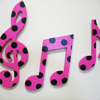 Music Notes Wall Decor Hot Pink and Black