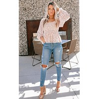Hint Of Romance Floral Top (Stone/Red/Mutli)