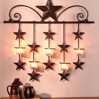 Rustic Primitive Metal Stars Candle Wall Sconce W/Glass Cups Country Charm Decor
