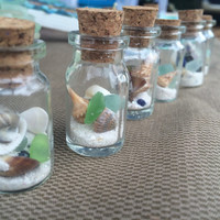 Beach in a Bottle, Mini bottle of genuine texas sea glass, Florida Sea Shell and Sand, texas to floridia, sea glass gift