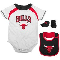 adidas Chicago Bulls Infant 3-Piece Creeper, Bib and Bootie Set