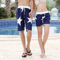 Stars Print Quick Dry Couple Beach Shorts 042213 DP B0616