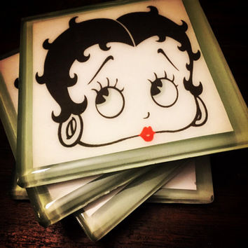 "Betty Boop! Coaster set ""Miss Boop"" custom handcrafted glass coaster set sealed in high quality epoxy resin!"