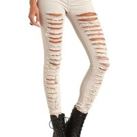 Colored Low Rise Destroyed Skinny Jeans by Charlotte Russe - Taupe