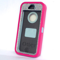 OtterBox Defender Series Case iPhone 5s Glitter Cute Sparkly Bling Defender Series Custom Case Peony Pink/Silver