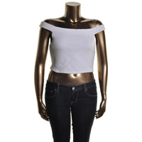 Guess Womens Ribbed Knit Off-The-Shoulder Crop Top