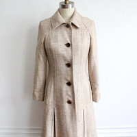 ON SALE Vintage 60s Tan Natural Woven Dress Coat // Women's Long Collared Jacket