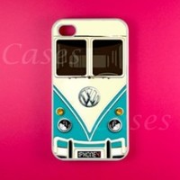 Iphpne 4 4s Case, Vw Minibus Teal Iphone 4 Case, Iphone 4s Case, Cool Pretty Rubber Protective Iphone 4 4s Case