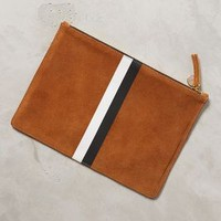 Striped Flat Clutch by Clare V Bronze One Size Clutches