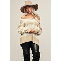 Inseparable Striped Sweater (Taupe/White)