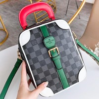 Louis Vuitton LV  New fashion tartan print leather high quality shoulder bag couple handbag Black