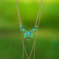 Shimmer And Spice Necklace-Sky