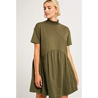 Mock-neck Baby Doll Dress in Olive