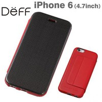 Strapya World : Deff Carbon Fiber Plus Genuine Leather Case for iPhone 6 (Red)