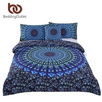 BeddingOutlet 4 Pieces Moonlight Boho Beding Set Bohemia Duvet Cover with Pillow Case Blue Plain Twill Bedclothes Soft Bed Cover