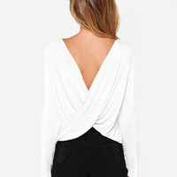 Long Sleeve Draped V-Cut Back Top