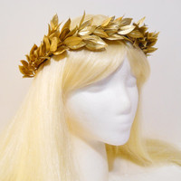 Gold Leaf Crown Laurel Wreath Greek Roman Goddess Golden Headpiece Grecian Athena Toga Leaf Hair Greek God Burning Man Costume Headdress