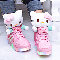 New Hello Kitty Kids Shoes LED Sneakers For Girls Shoes USB Charging Luminous LED Lighted Children Shoes /Zapatos Mujer AG3
