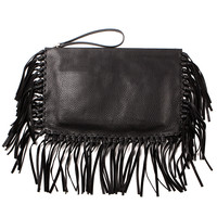 VALENTINO BLACK LEATHER CLUTCH WITH FRINGES