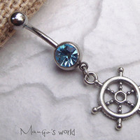 Steering Wheel Belly Button Jewelry Ring- Crystal Belly Ring- Silver Cute Charm Dangle Navel Piercing Bar Barbell- B029