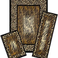 Park Avenue Collection Capri 3 Piece Rug Set - Leopard Skin