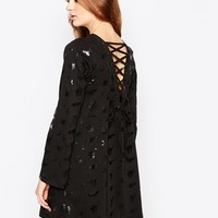 Worn By Halloween Witches Dress With Flared Sleeve & Lace Up Back at asos.com