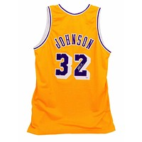Magic Johnson Signed Lakers Yellow Jersey PSA/DNA COA Autograph Gold Los Angeles