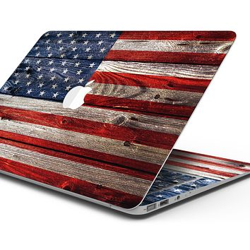 """Wooden Grungy American Flag - Skin Decal Wrap Kit Compatible with the Apple MacBook Pro, Pro with Touch Bar or Air (11"""", 12"""", 13"""", 15"""" & 16"""" - All Versions Available)"""