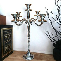 24 Inches Handmade 5 Arms Aluminum Candelabra with Pedestal Body, Polished Silver By Casagear Home