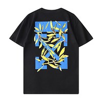 Off White New fashion letter arrow leaf print couple top t-shirt Black