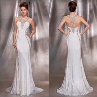 Evening Dresses Sale Long Mermaid Lace Prom Dress White Women Formal Gowns
