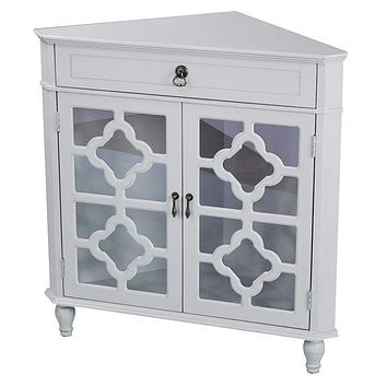 """Display Cabinet - 31"""" X 17"""" X 32"""" Light Sage MDF, Wood, Clear Glass Corner Cabinet with a Drawer and Doors"""