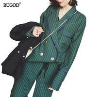 RUGOD NewArrival Women Casual Blazer Suits Turn-down Collar Striped Jacket Ankle-length Pant Female Two Piece Set Homewear Comfy
