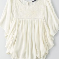 AEO Women's Embroidered Butterfly Top (Cream)