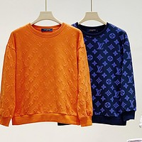 LV new embossed letters men and women round neck long sleeve sweater