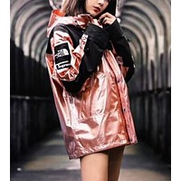 Supreme X The North Face Popular Women Men Personality Metal Color Cardigan Jacket Coat Windbreaker Sportswear Pink