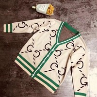 """Gucci"" Women Fashion Classic GG Letter Multicolor Stripe Long Sleeve V-Neck Knit Cardigan Sweater Coat"