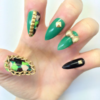 Doobys Stiletto - Camouflage - 24 Hand Painted Stiletto Nails