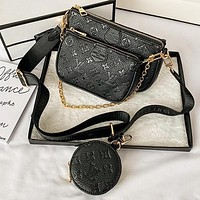 LV Louis Vuitton black vintage embossed letters three-piece shoulder bag mahjong bag messenger bag