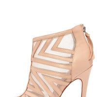 Chinese Laundry Luscious Nude Leather and Mesh Booties